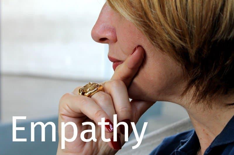 thoughtful woman showing empathy