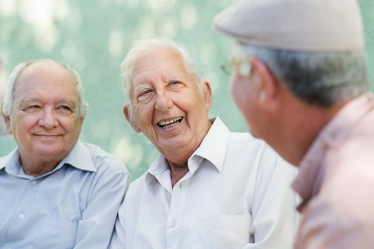 boomer senior men talking