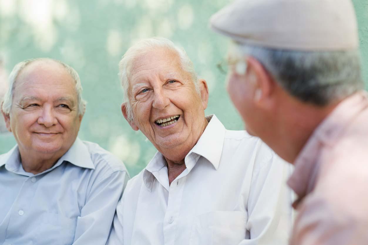 boomer senior men talking