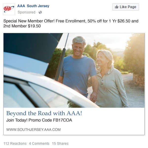 AAA New Member Facebook ad