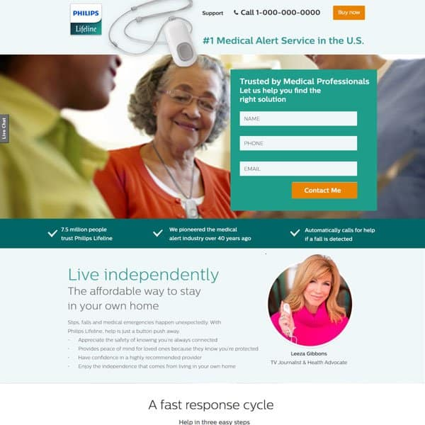 Philips Medical Alert Landing Page